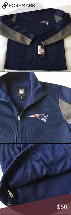 "New England Patriots Knit Jacket NWT NFL Knit Sweater - New England Patriots  Look sharp, stay warm. The go-to 3 season Sweater.   Condition:  New with tag.   Details:   Ribbed knit sweater with microfleece lining Embroidered team logo. Front pockets and drawstring waist 100% Polyester Machine Wash Cold 23"" armpit to armpit 28"" shoulder to bottom NFL Team Apparel Sweaters Zip Up"