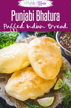 Bhatura is a fluffy and deep fried Indian bread that is served with golden brown chickpea curry. It is made from flour maida (purpose flour), yogurt. Puri Recipes, Paratha Recipes, Indian Bread Recipes, Indian Breads, Vegetarian Recipes, Cooking Recipes, Veg Recipes, Snack Recipes, Breads