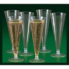 25 - CLEAR PLASTIC CHAMPAGNE WEDDING TOASTING FLUTES GLASSES --- http://bizz.mx/gmj