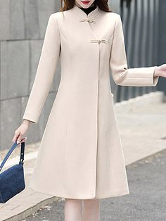 Notch Lapel Plain Pure Color Coat Women Clothes For Cheap, Collections, Styles Perfectly Fit You, Never Miss It! Korean Fashion Dress, Hijab Fashion, Fashion Dresses, Fashion Coat, Woman Fashion, Winter Coats Women, Coat Dress, Stylish Dresses, Ideias Fashion