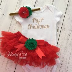 3e7823506 My 1st Christmas Outfit - Gold/Silver - Red, Green and Glitter -  Embellished tutu skirt bloomers