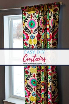 Learn how to make curtains the easy way! If you can sew a straight seam, you can make these Easy DIY Curtains in no time! Easy Sewing Projects, Sewing Hacks, Sewing Tutorials, Sewing Crafts, Sewing Patterns, Diy Projects, Tutorial Sewing, Sewing Ideas, No Sew Curtains