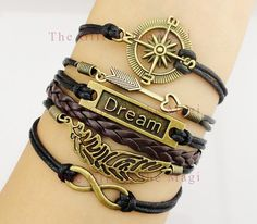 Compass, Arrow, Dream, Feather and Infinity Charm Bracelet in Bronze - Black Wax Cords and Dark Brown Leather Braid Bracelet-Best Gift