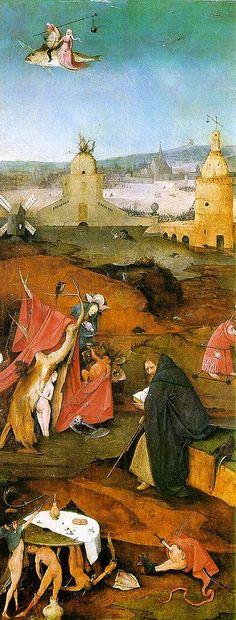 Hieronymus Bosch, Die Versuchung des Heiligen Antonius. The right panel: St. Anthony in Meditation
