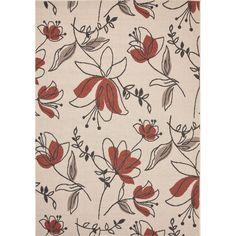 Jaipur Rugs IndoorOutdoor Floral Pattern Ivory/Red Polypropylene Area Rug BLO07 (Rectangle)