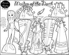 A fantasy printable black adn white paper doll inspired by Vikings with four dresses, two pairs of shoes and curly brown hair. Free to print from PaperThinPersonas.com.