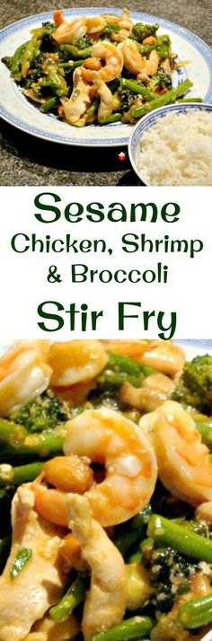 Sesame Chicken, Shrimp and Broccoli Stir Fry is a really quick and easy meal, delicious served with rice or noodles! This works well as an appetizer or main meal. You choose! #Asian
