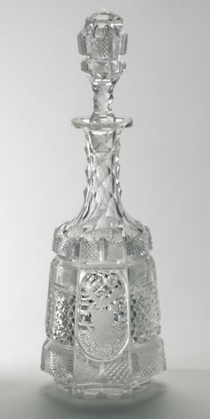"""Dorflinger, 1876, American brilliant cut glass, 18"""", 38 pc """"Centennial Set"""" of states crests, displayed at 1876 Centennial Exhibition then donated to Philadelphia Museum of Art."""