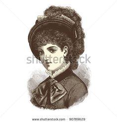 "Portrait of a lady - Vintage engraved illustration - ""La mode illustree"" by Firmin-Didot et Cie in 1882 France"