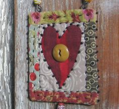 tiny heart quilt - one of a kind - hand stitched - big red heart