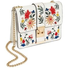 Miss Selfridge White Embroidered Cross Body Bag ($68) ❤ liked on Polyvore featuring bags, handbags, shoulder bags, white, chain shoulder bag, white shoulder handbags, cross-body handbag, white handbag and chain strap handbag
