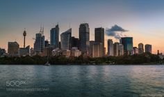 Sunset on City - The last of the day's sunlight across the city of Sydney