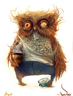 This what I look like in the morning because I am a night owl. <<<<<<<< partly true- if the owl was female XD L'art Du Portrait, Drawn Art, Illustration Art, Illustrations, I Love Coffee, Owl Coffee, Drink Coffee, Monday Coffee, Coffee Art