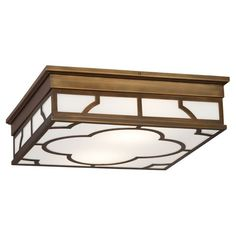Addison Flush Mount in Weathered Brass by Robert Abbey.   • Bulb Type: A  • Direct Wire  • Weathered Brass Finish  • White Glass Shade Panels
