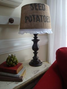 @Kimberly Bunce  A Little Piece of Heaven: Thrift Store lamp + old potato sack = Chic Lamp Makeover