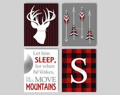 Buffalo Plaid Lodge Nursery Bedding Decor Deer Art Woodland Nursery Art Let Him Sleep Arrow Nursery Art Buck Art Choose Colors LO4701 trendy family must haves for the entire family ready to ship! Free shipping over $50. Top brands and stylish products 🌿