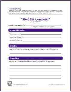 """Meet the Composer"" Job Application Worksheet - http://makingmusicfun.net/htm/f_printit_free_printable_worksheets/composer-employment-application-worksheet.htm"
