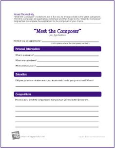 """Meet the Composer"" Job Application Worksheet - http://makingmusicfun.net/htm/f_printit_free_printable_worksheets/composer-employment-application-worksheet.htm"