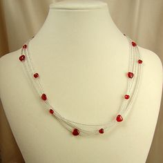 Red hearts, glass seed beads