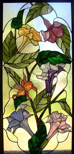 Brugmansia Window by Kelley Studios this stained glass would make a beautiful quilt design. try paintsticks for the stained glass look Stained Glass Quilt, Stained Glass Flowers, Stained Glass Designs, Stained Glass Panels, Stained Glass Projects, Stained Glass Patterns, Leaded Glass, Mosaic Art, Mosaic Glass