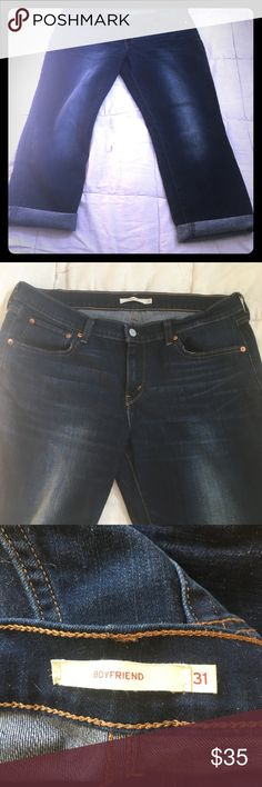 Levi strauss & co boyfriend capri jeans Super cute and the most comfortable pants I have owned.  Well loved, look new.  Dog friendly home (Im buying a new pair in a different size is only reason im selling them) They have stretch and fit a size 14.  Size on pants say 31. Levi's Jeans Boyfriend