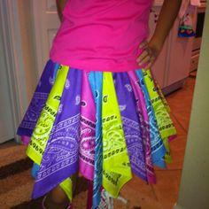 Bandana skirt.  so cute and so easy. It took 8 bandanas. So 8 bucks.