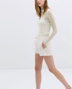 COMBINED GUIPURE LACE SHORTS - Trousers - WOMAN | ZARA Czech Republic