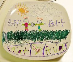 Decorate a plate (mug, or bowl) from the $ store using Sharpie markers.  Then bake it in the oven for 30 minutes at 300 degrees.  Fun project for kids to do...and adults too.  :)