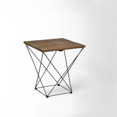 angled base side table in reclaimed pine + iron | west elm