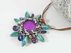 Beaded Flower Pendant Purple & Green by BeauBellaJewellery on Etsy #flower #necklace #beads #cabochon #lunasoft #mothersdaygift