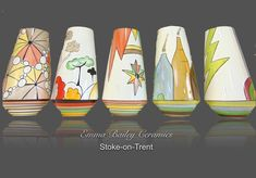 Hand painted one of a kind collectable vases by Emma Bailey Ceramics.