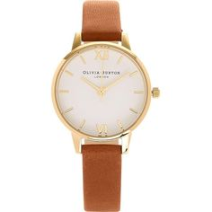 Olivia Burton White Midi Dial Watch ($91) ❤ liked on Polyvore featuring jewelry, watches, slim watches, white watches, olivia burton watches, white jewelry and leather-strap watches