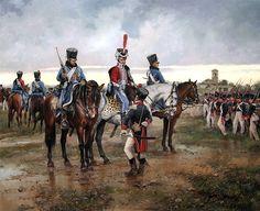 """""""El Coronel Francisco de Longa en el puente de Durana durante la batalla de Vitoria,con la División de Iberia, junio de 1813"""", Augusto Ferrer Dalmau"""