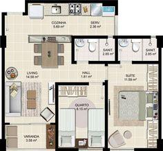 Casa pequena de 2 quartos com 1 suite e um banheiro social