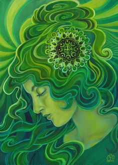 Green Goddess  Art Nouveau 5x7 Blank Greeting Card by EmilyBalivet, $5.00
