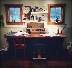 "Carson Ellis's desk ""A Day in the Life of Carson Ellis"" in design sponge.com 2-15-'14"