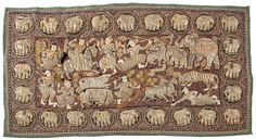 Kalaga. Burmese tapistry. Colourfull embroidery on brown canvas with beads