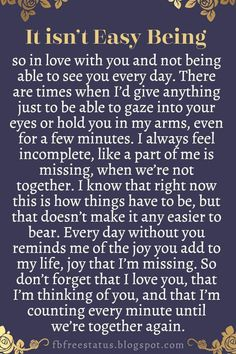 Soulmate Quotes :Long Distance Relationship Quotes It isnt easy being so in love with you and Soulmate Love Quotes, Now Quotes, Love Quotes For Her, Romantic Love Quotes, Love Yourself Quotes, Life Quotes, Can't Wait To See You Quotes, Long Day Quotes, You Are My Everything Quotes
