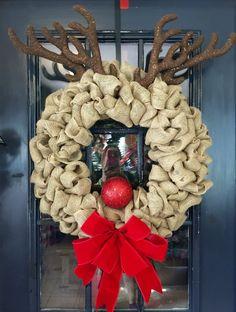 Burlap Reindeer Wreath Christmas Wreath Rudolph by WreathsbyLaura