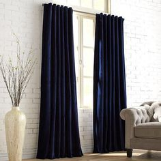 Sheridan Velvet Navy Curtain <br> Soft to the touch and easy on the eyes, our velvety Sheridan curtain is woven from pure cotton, then lined in polyester for extra heft. Plus, you have the choice of hanging it two ways—rod pocket Velvet Curtains Bedroom, Blue Curtains Living Room, Navy Living Rooms, My Living Room, Small Living, Dark Blue Curtains, Blue Velvet Curtains, Green Curtains, Drapes Curtains