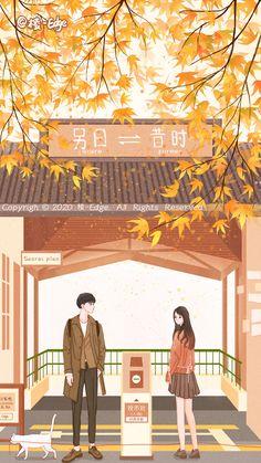 Cute Couple Cartoon, Cute Couple Art, Autumn Illustration, Couple Illustration, Cute Wallpaper Backgrounds, Cute Wallpapers, Romantic Couples, Cute Couples, Wattpad Book Covers
