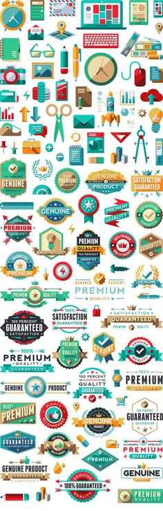 Collection of flat UI styled vector stock. Web Design, Icon Design, Badge Design, Flat Design, Vector Design, Logo Design, Logo Montagne, Lettering, Typography