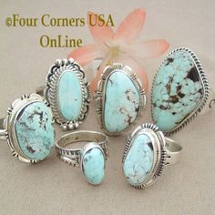 Nevada Dry Creek Turquoise Rings Four Corners USA OnLine Native American Indian Silver Jewelry