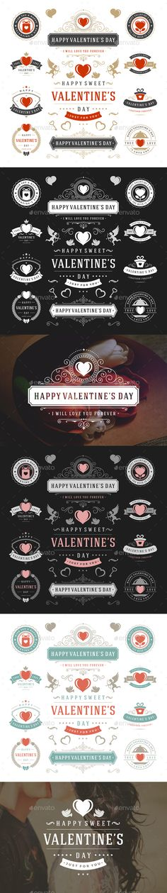 Valentine's Day Logo Badges & Labels Template PSD, Vector AI #design Download: http://graphicriver.net/item/valentines-day-logo-badges-labels/14011032?ref=ksioks