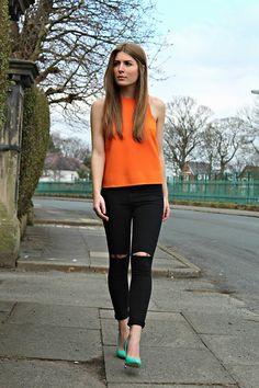 Angharad Jones - Miss Selfridge Top, Miss Selfridge Jeans, Miss Selfridge Heels - Ripped skinnies