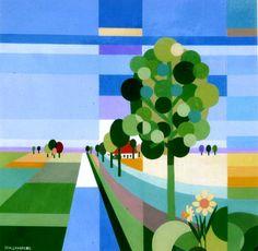 Schilderijen van Linschotenaar Ton Lempers Collage Landscape, Landscape Quilts, Composition Art, City Painting, Glitch Art, Whimsical Art, Abstract Canvas, Art And Architecture, Graphic Art