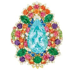 Dear Dior Dentelle Chantilly Multicolored ring, starring a magnificent central Paraiba tourmaline