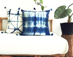 MOON GLADE CUSHION COVER - Linen Cushion Cover With Handmade Dip Dyed Tassels – Hand Dyed – Natural Organic Indigo By Kate Warren - Stolen Heart Design ____________________________  Each cushion cover is handmade in my home studio on the Sunshine Coast Queensland, Australia.  The cushion cover is made of 100% Linen and dyed using natural organic Indigo. I fold, resist and bind using the Japanese art form of shibori to create one of a kind pieces, they are then hand dye in my natural organic…