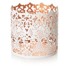 Etched Two Tone Tealight Holder: white and copper