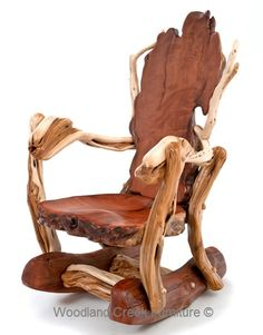 This unique rockers is handcrafted from solid live edge slabs of redwood and natural juniper logs. This is a signature Woodland Creek Furniture design. Our talented artisans have been handcrafting beautiful rockers for over 14 years. Our rustic rockers are not only beautiful, but they are also comfortable.